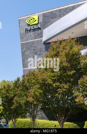 Santa Clara, California, USA - April 26, 2018: NVDIA Corporation, headquarters in Silicon Valley. NVDIA Corporation is an American technology company, - Stock Photo