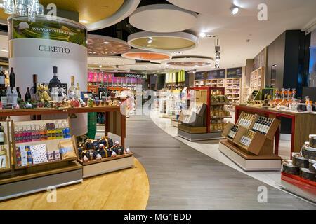 MILAN MALPENSA, ITALY - CIRCA NOVEMBER, 2017: a shop at Milan-Malpensa Airport - Stock Photo