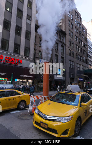 New York City Steam Pipe in street - Stock Photo