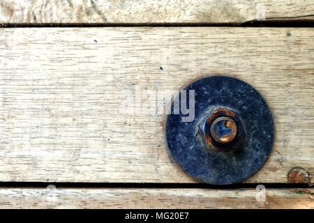 Rusty Screw on Wood Board. - Stock Photo