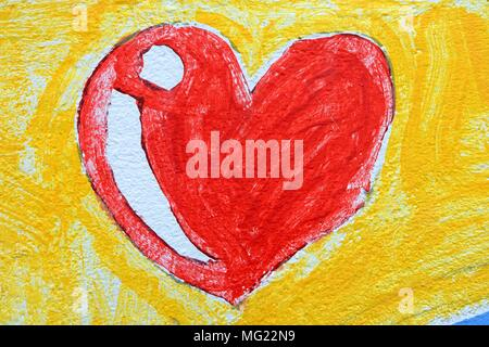 Heart Drawing on Concrete Wall Background. - Stock Photo