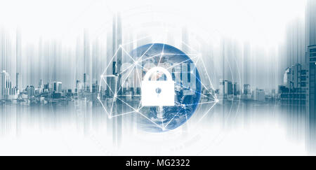 Global network security system technology. Globe and network connection and lock icon. Element of this image are published by NASA - Stock Photo