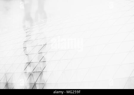 Double Exposure of Metal Chains and Modern Building with Space for Texture. Suitable Use for Blockchain Concept. - Stock Photo