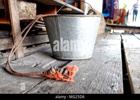 Old Aluminum Bucket. (Selective Focus) - Stock Photo