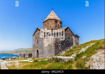 Sevanavank (Sevan Monastery), a monastic complex located on a  shore of Lake Sevan in the Gegharkunik Province of Armenia - Stock Photo