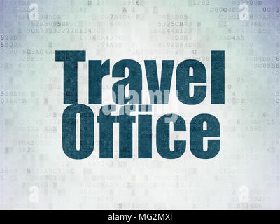 Travel concept: Travel Office on Digital Data Paper background - Stock Photo