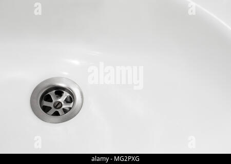 blur image of sink drain, close up photo of water drain, sink drain, clean concept, copy space, place for text, bathroom sink - Stock Photo