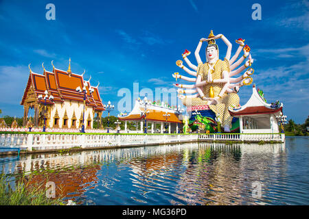 Wat Plai Laem temple with 18 hands God statue (Guanyin), Koh Samui, Surat Thani, Thailand. - Stock Photo