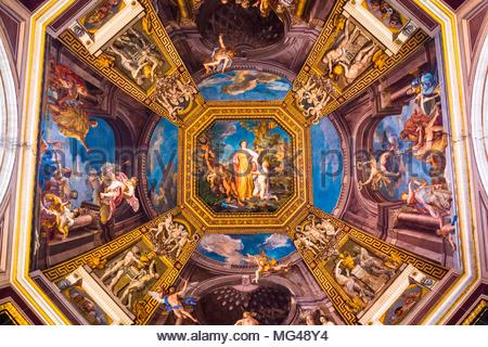 Ceiling fresco depicting Apollo and Muses, Sala delle Muse, Room of the Muses, Vatican Museum, Vatican city, Rome, Italy. - Stock Photo