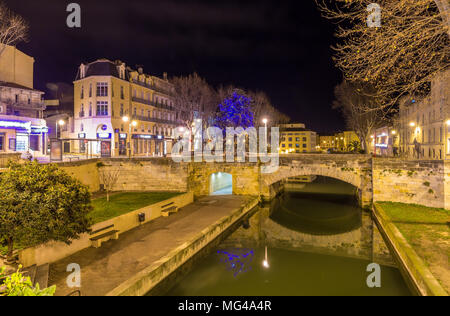 Night view of Canal de la Robine in Narbonne, France - Stock Photo