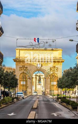 Porte du Peyrou, a triumphal arch in Montpellier - France - Stock Photo
