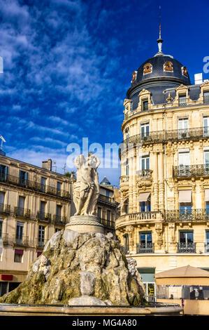 Fontaine des Trois Graces on place de la Comedie in Montpellier, - Stock Photo