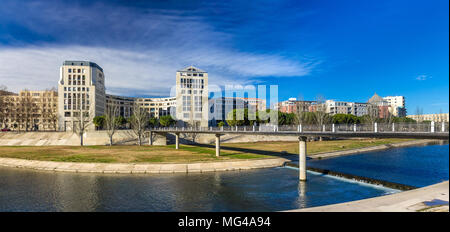 Modern buildings in Montpellier by river Lez - France - Stock Photo