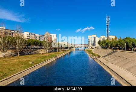 View of Montpellier over the river Lez - France - Stock Photo