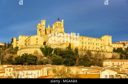 View of St. Nazaire Cathedral in Beziers, France - Stock Photo