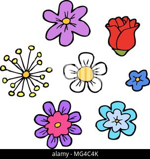 Doodle flowers set on a white background vector illustration - Stock Photo