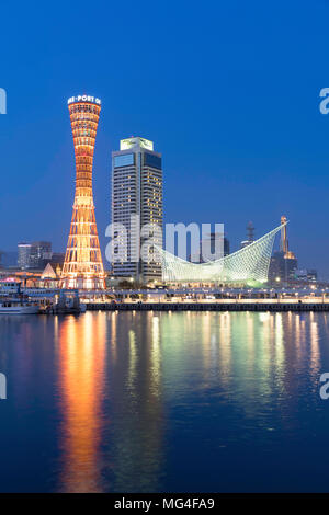 Port Tower and Maritime Museum at dusk, Kobe, Kansai, Japan - Stock Photo