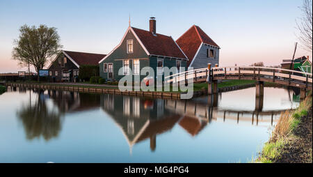 Historical dutch house at the Zaanse Schans village in the evening  near Zaandam, The Netherlands (panoramic view) Photo taken on April 16, 2018 - Stock Photo