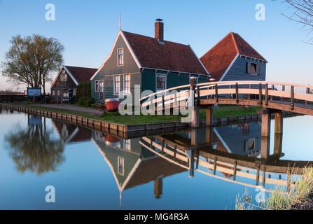 Historical dutch house at the Zaanse Schans village in the evening  near Zaandam, The Netherlands Photo taken on April 16, 2018 - Stock Photo