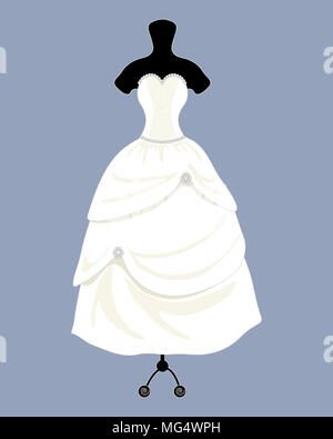 an illustration of a beautiful designer wedding dress in a fancy ball gown style with a full skirt on a blue background - Stock Photo