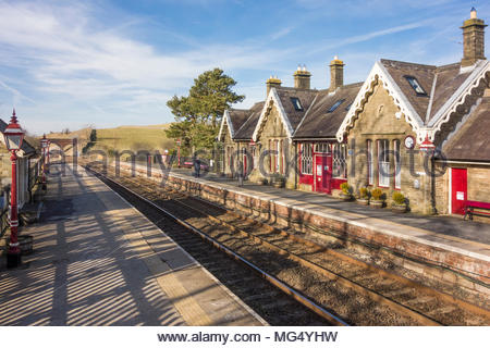 Kirkby Stephen railway station in Cumbria on the famous Settle to Carlisle railway line - Stock Photo