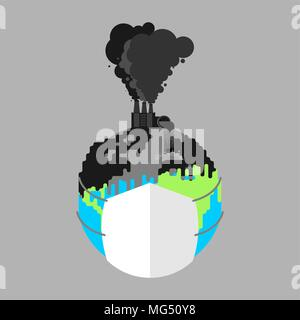 Earth in respirator. Planet in mask from dust. Contaminated air. Environmental pollution Smoke plants. Factory emissions vector illustration. - Stock Photo