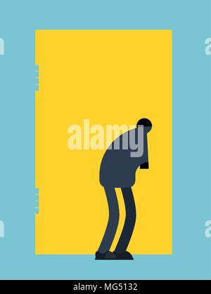 Man looks into keyhole. Guy Spies on keyhole. Vector illustration - Stock Photo