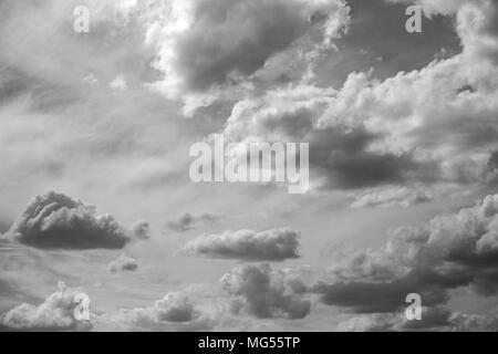 Beautiful scenic black and white picture of summer sunny cloudscape. Horizontal photography. - Stock Photo