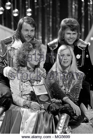 File photo dated 07/04/74 of (clockwise, from top left) Bjorn Ulvaeus, Benny Andersson, Agnetha Faltskog and Anni-Frid Lyngstad, of the Swedish pop group Abba pictured in Brighton celebrating their win at the Eurovision Song Contest. In an official statement posted on Instagram the band announced that they have recorded new music. - Stock Photo