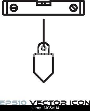 Spirit level and plumb bob flat line icon vector - Stock Photo