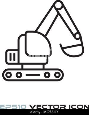 excavator flat line icon vector - Stock Photo