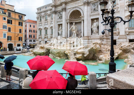 Rome Trevi Fountain at raining day, Rome, Italy. - Stock Photo