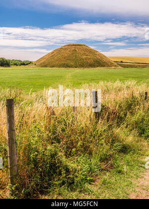 A sunny summer's day at Silbury Hill in Wiltshire.
