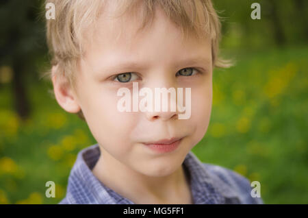 Closeup portrait of little cute funny boy with white hair looking at camera seriously while playing outdoors on warm spring or summer day. Horizontal  - Stock Photo