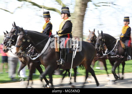The Household Cavalry, celebrating the Queen's 92nd birthday in Hyde Park, London, UK - Stock Photo
