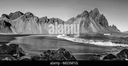 Vestrahorn Mountains at Stokksnes Beach, ICELAND - Stock Photo