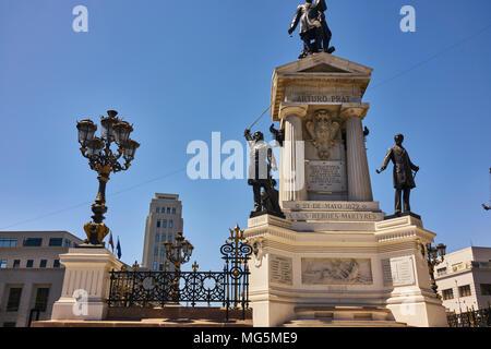 Monument of Chilean national hero Arturo Prat in Valparaiso. Low angle shot. - Stock Photo