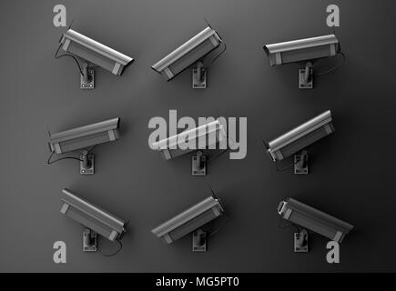 3d illustration of data protection technology privacy concept with many surveillance cameras on a black dark wall pointing in different directions - Stock Photo