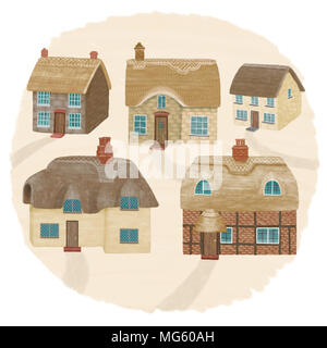 English thatched cottages on a hillside - Stock Photo