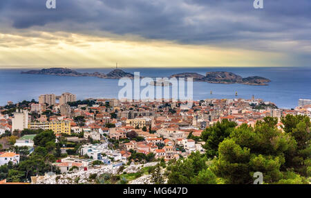 View of the Frioul archipelago from Marseille - France, Provence - Stock Photo