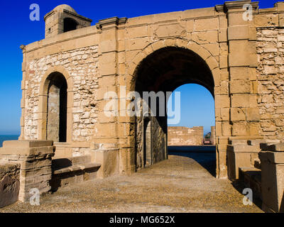 The bastion in the walled town of Essaouira, Morocco - Stock Photo