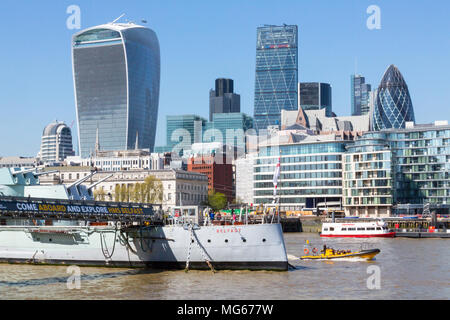 London, United Kingdom - April 23, 2015: A sunny spring day in  London from the Southbank you can see several of London's iconic buildings. - Stock Photo
