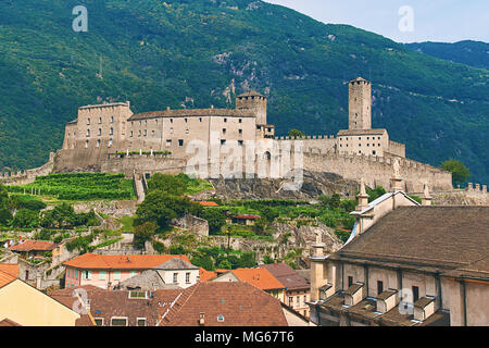 View of beautiful city of Bellinzona in Switzerland with Castelgrande castle from Montebello - Stock Photo
