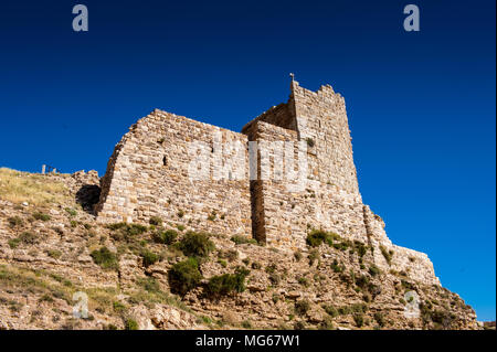 Ruins of the Kerak Castle, a large crusader castle in Kerak (Al Karak) in Jordan. - Stock Photo