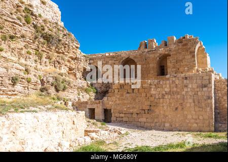 Walls of the Kerak Castle, a large crusader castle in Kerak (Al Karak) in Jordan. - Stock Photo