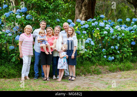 Family portrait of three generations in Arderne Gardens - Stock Photo