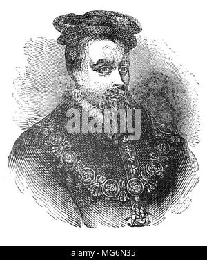 """Thomas Stanley, 1st Earl of Derby, (1435 – 1504) was an English nobleman, politician and stepfather to King Henry VII of England.   Stanley was """"a man of considerable acumen, and probably the most successful power-broker of his age"""", a landed magnate of immense power, particularly across the northwest of England where his authority went almost unchallenged, even by the Crown, Stanley managed to remain in favour with successive kings throughout the Wars of the Roses until his death in 1504. - Stock Photo"""