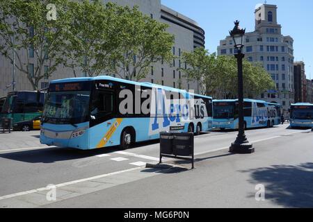 Aerobús airport buses leaving Plaça de Catalunya, Barcelona, Catalonia, Spain - Stock Photo