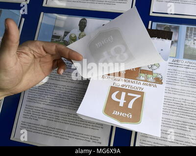 Russia. 27th Apr, 2018. PRIMORYE TERRITORY, RUSSIA - APRIL 27, 2018: A calendar showing countdown till the beginning of the 2018 FIFA World Cup in Russia, at penal colony No 27 in the village of Volchanets. Yuri Smityuk/TASS Credit: ITAR-TASS News Agency/Alamy Live News - Stock Photo