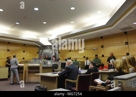 North Miami Beach, Florida, USA. 22nd Mar, 2018. Florida school shooting suspect Nikolas Cruz's attorney, Assistant Public Defender Melisa McNeill, waives her client's speedy trial rule in front of Circuit Judge Elizabeth Scherer Friday afternoon, April 27, 2018, in Fort Lauderdale, Fl. No trial date was scheduled. Florida's speedy trial rule generally requires that a felony defendant go to trial within 175 days of arrest unless it's waived.Cruz, 19, is charged with 17 counts of murder and 17 counts of attempted murder in the February 14, 2018 school shooting at Marjory Stoneman Douglas H - Stock Photo